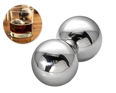 Stainless Steel Whiskey Rocks Stones Wine Beer Chillers - 55mm 2 Pcs