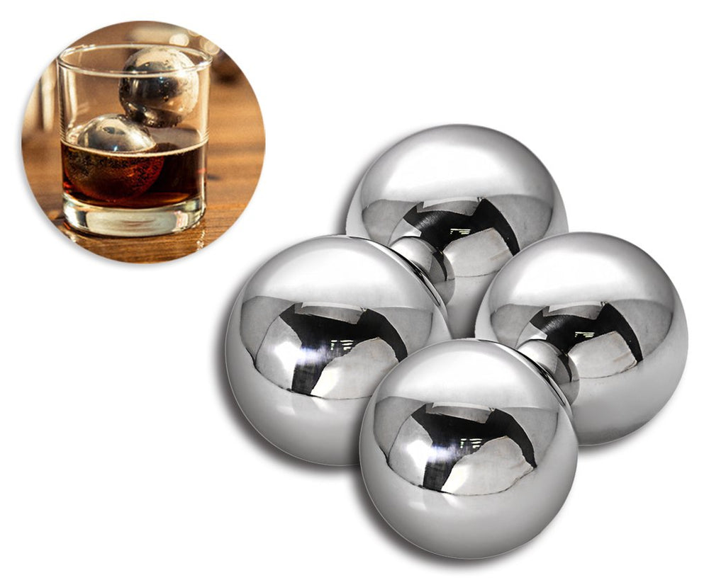 Stainless Steel Whiskey Rocks Stones Wine Beer Chillers - 40mm 4 Pcs