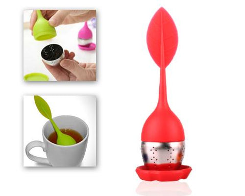 Leaf Shape Tea Infuser Stainless Steel Bottom Strainer - Red
