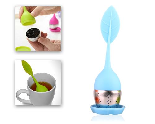 Leaf Shape Tea Infuser Stainless Steel Bottom Strainer - Blue