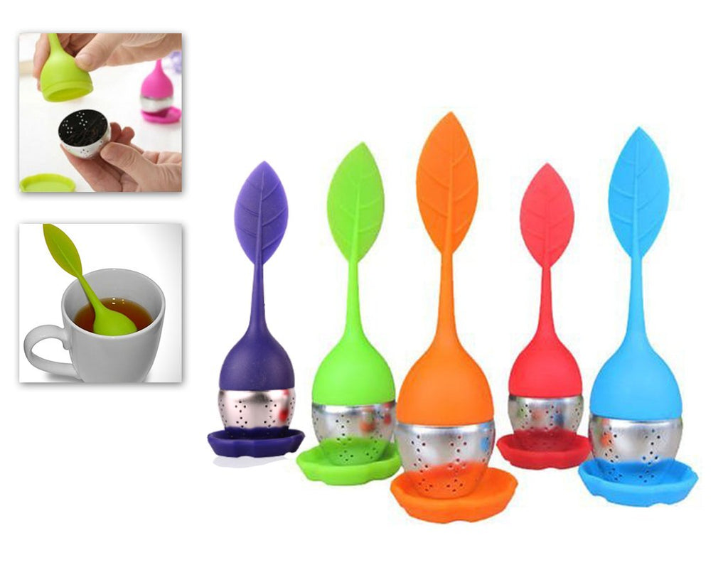 5 Pcs Reusable Stainless Steel Leaf Shaped Tea Infuser Filter Set