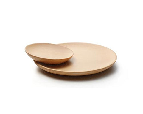 3 Pcs Round Shaped Wooden Plate