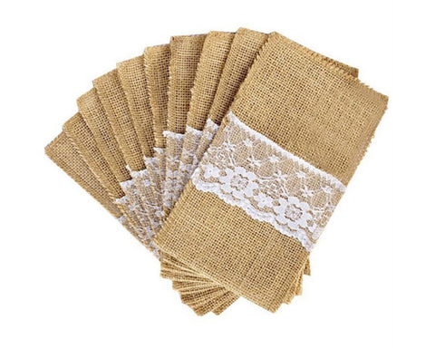 Silverware Holders 50 Pack Burlap Utensil Holder