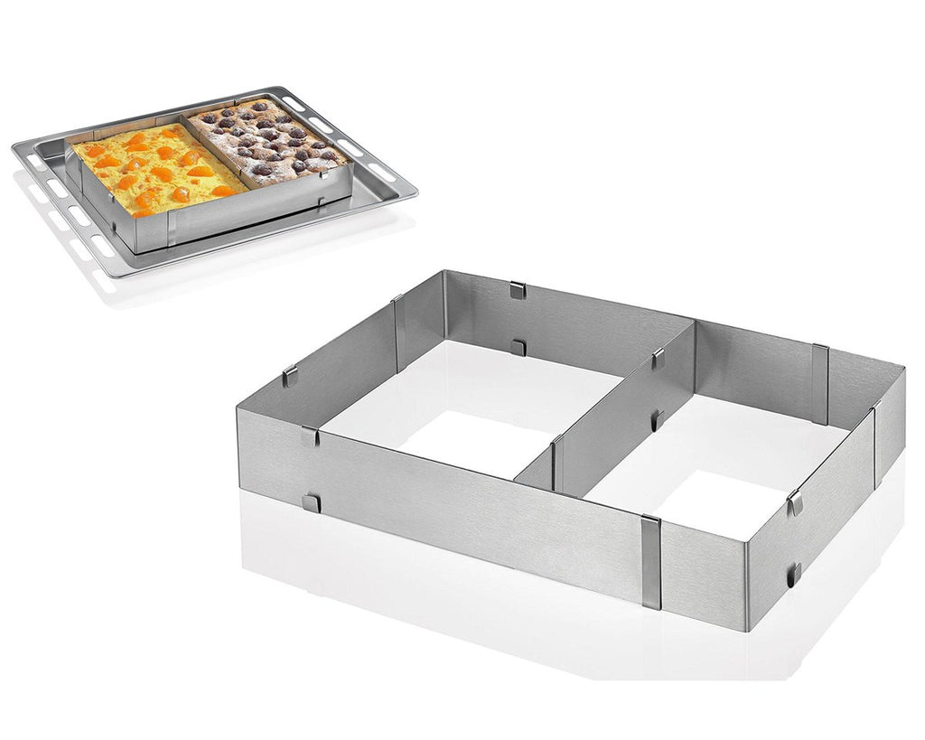 Adjustable Metal Cake Mold with Interior Partition 52.5cm x 34cm