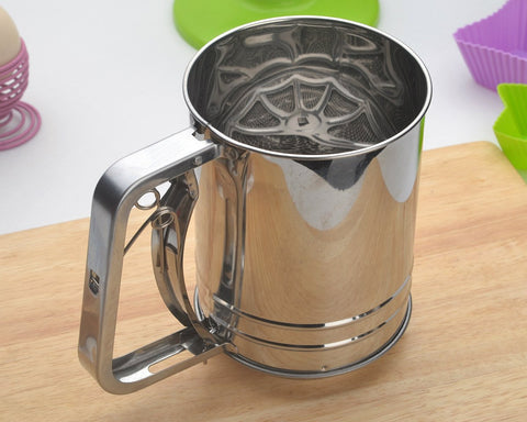 Trigger Action Stainless Steel Double Mesh Flour Sifter
