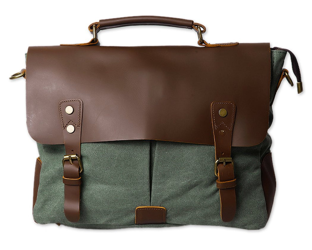 Vintage Canvas Satchel Messenger Bag for Men - Green