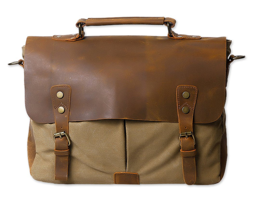 Vintage Canvas Satchel Messenger Bag for Men - Khaki