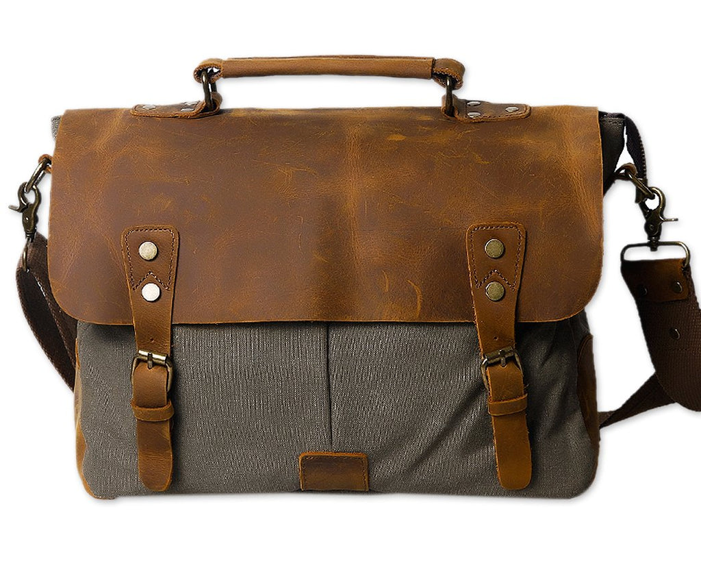 Vintage Canvas Satchel Messenger Bag for Men - Dark Green