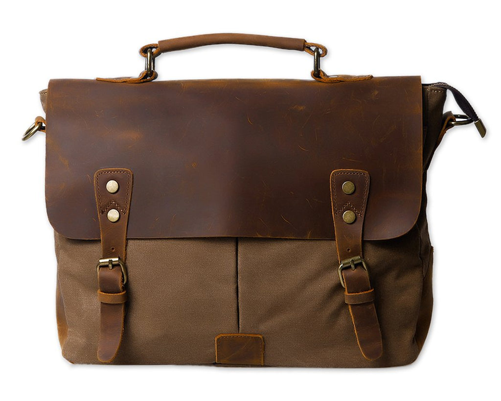 Vintage Canvas Satchel Messenger Bag for Men - Coffee