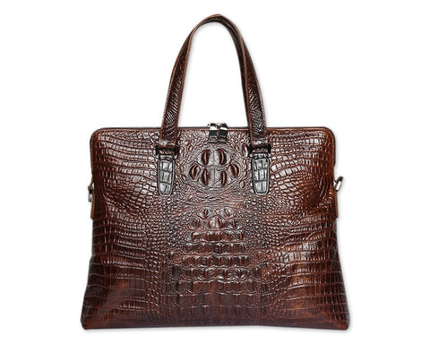 Crocodile Pattern Style Leather Slim Business Briefcase - Brown