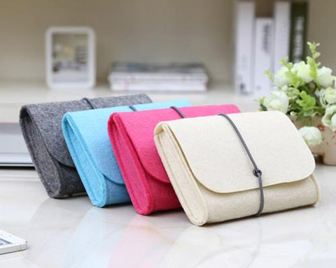 Wool Series MacBook Accessories Hand Pouch - White