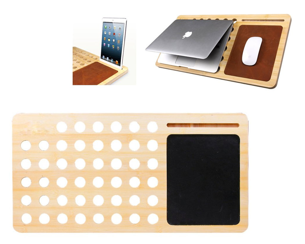 Bamboo Cooling Pad Slot Holder for Smartphone, Tablet and Laptop-Black