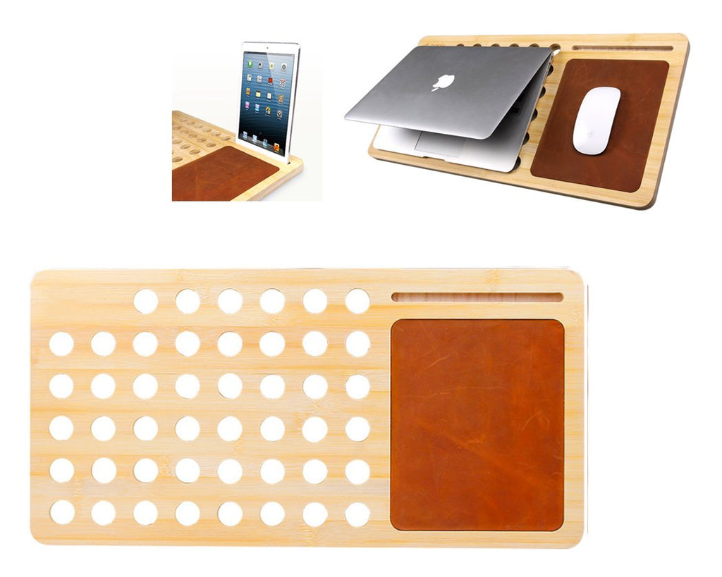 Bamboo Cooling Pad Slot Holder for Smartphone, Tablet and Laptop-Brown