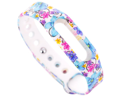 Replacement Band for Xiaomi Mi Band Smart Bracelet-Flower Blue
