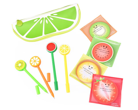 Fruit Shaped Stationery Set with Pencil Case Pens and Sticky Notes - B
