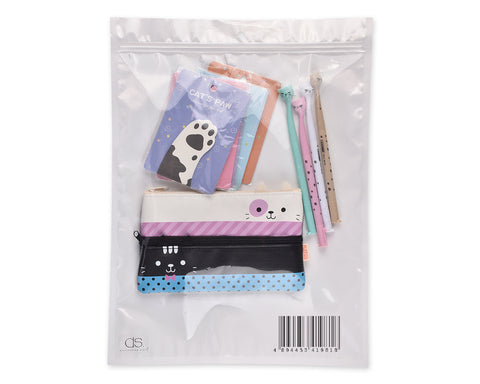 Funny Cats Stationery Set with Pencil Case, Pens and Sticky Notes - A