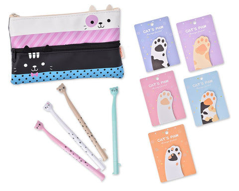 Funny Cats Stationery Set with Pencil Case, Pens and Sticky Notes - B