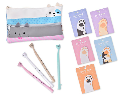 Funny Cats Stationery Set with Pencil Case, Pens and Sticky Notes - C