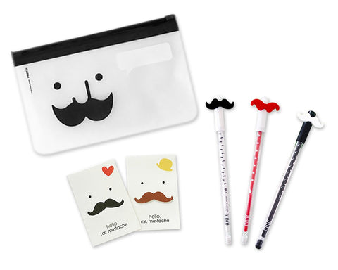 Mustache Stationery Set with Pencil Case, Pens and Sticky Notes