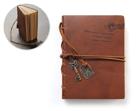 Leather Cover Key Blank Pages Journal Diary Notebook - Brown