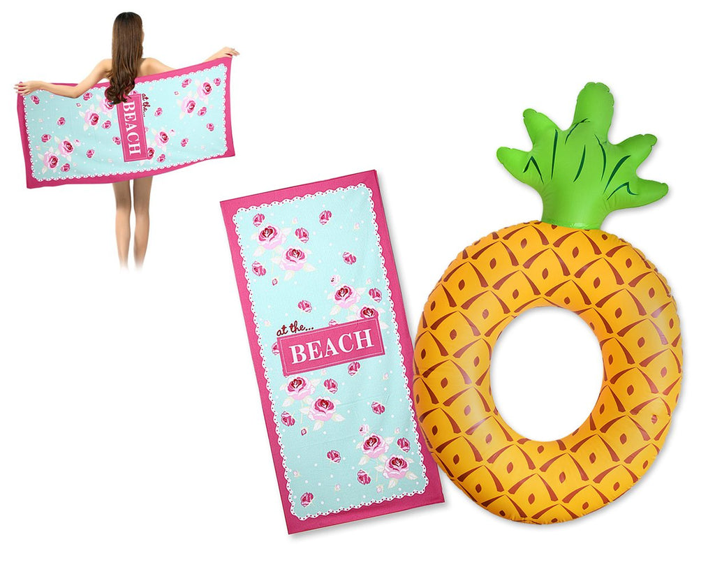 Giant Pineapple Inflatable Pool Float and Beach Towel - Flower