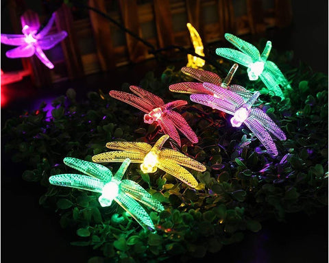 Dragonfly Solar Power String Lights Outdoor Decor 16 Feet 20 LED