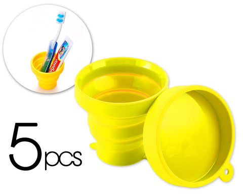 5 Pcs Silicone Folding Retractable Water Cup for Travel - Yellow