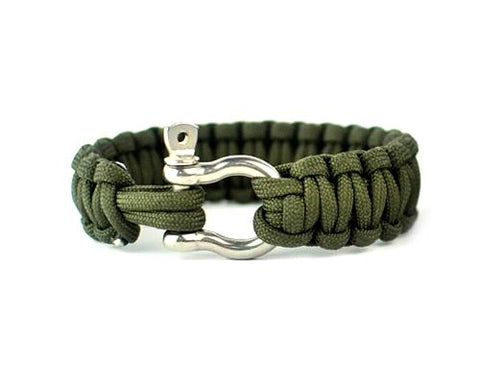 Survival Bracelet Strap With Stainless Steel U Shackle -Military Green
