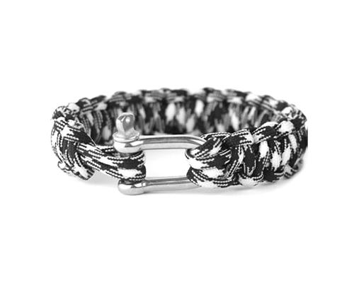 Survival Bracelet Strap With Stainless Steel U Shackle-Black and White