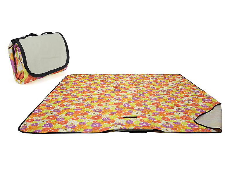 Foldable Outdoor Picnic Blanket - Orange Flower