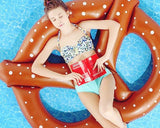 Giant Pretzel Inflatable Pool Float - Brown