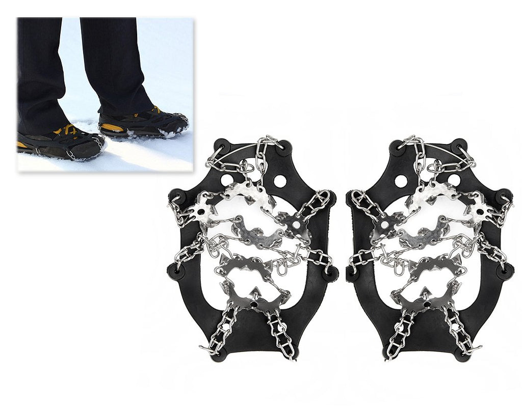 Traction Cleats for Snow and Ice with 19 Steel Crampons - Black