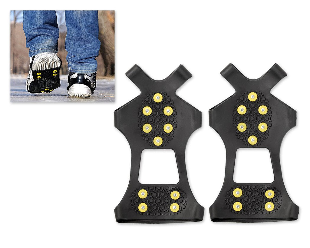 2 Pcs Silicone Anti-slip Action Traction Ice Cleats - Black