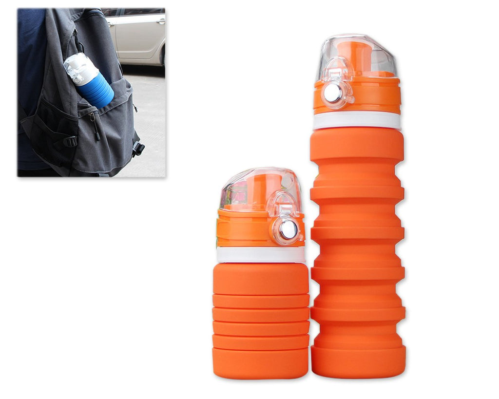 500ml Travel Silicone Folding Water Bottle for Outdoor - Orange