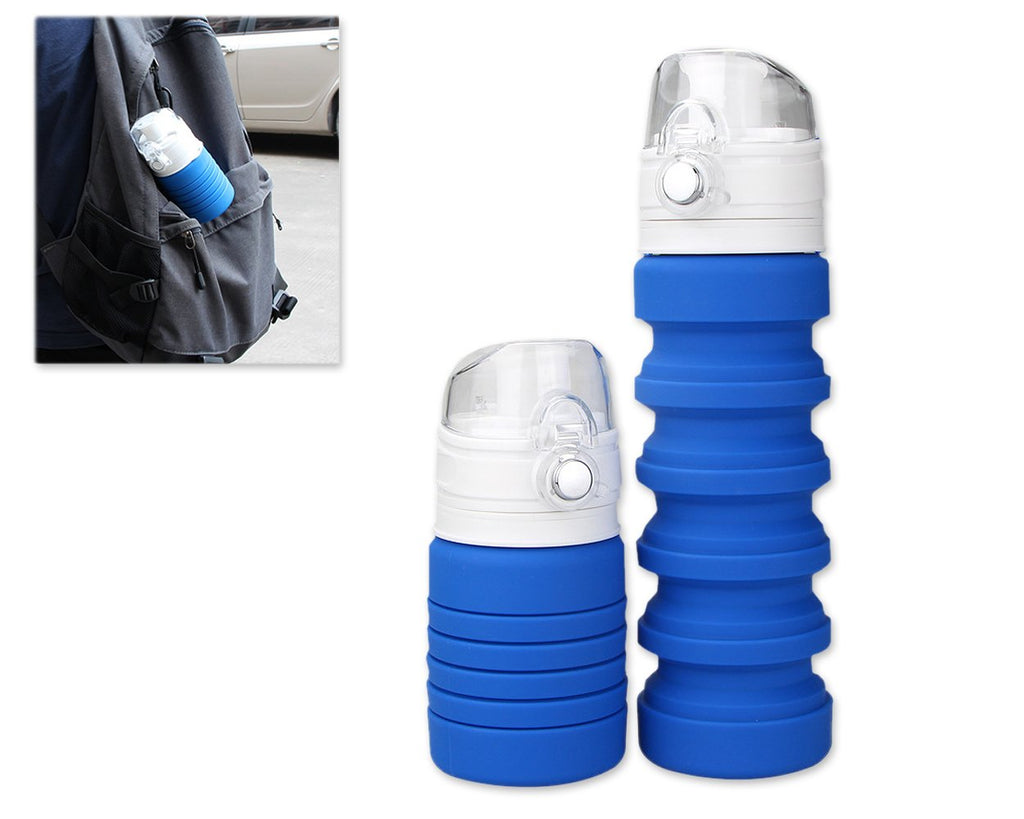 500ml Travel Silicone Folding Water Bottle for Outdoor - Blue