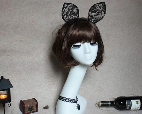 Lace Cat Ears Headband Cosplay Costume for Party - Black
