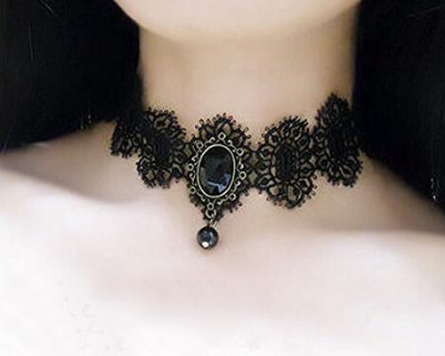 Halloween Party Accessory Women Gothic Lolita Lace Crystal Necklace
