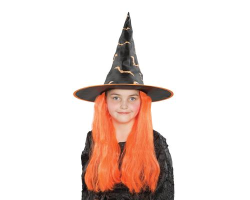Halloween Party Costume Accessory Kids Witch Hat with Orange Wig