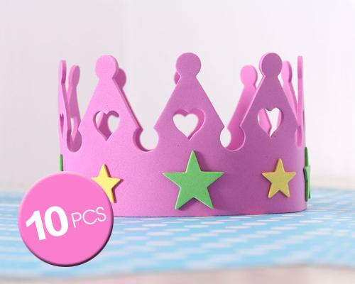 10 Pcs Birthday Party Sponge Crowns Set