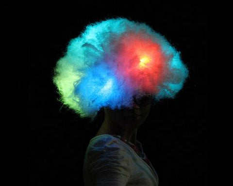 Party Clown LED Light Curly Wig - White