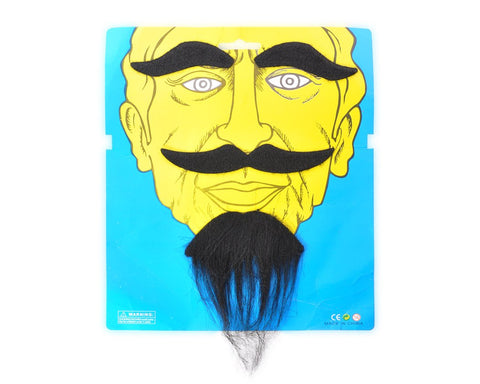 Self Adhesive Fake Mustaches and Eyebrow Set for Costume Party - Black