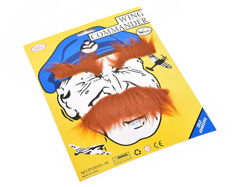 Self Adhesive Fake Mustaches and Eyebrow Set for Costume Party - Brown