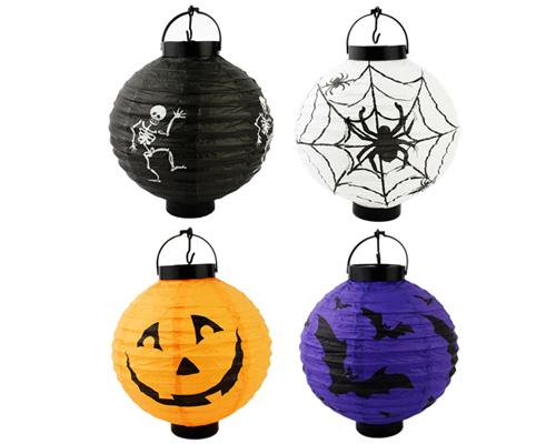 "4 Pcs 8"" Halloween Party Decoration Round Paper Lantern with LED"