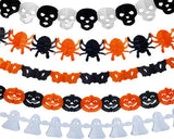 5 Pcs Halloween Decoration Banner+ 1 Pc Spider Web Cobweb and 2 Spiders
