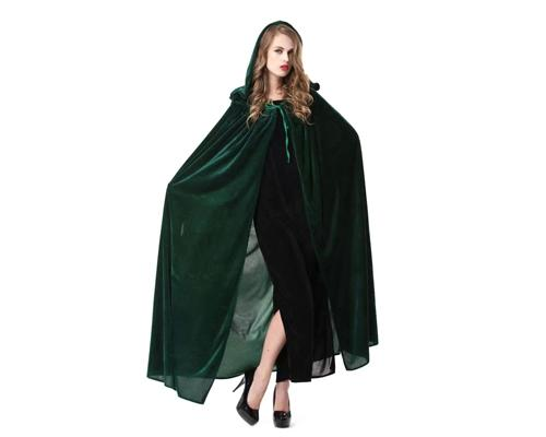 Halloween Party Costume Women's Crushed Velvet Hooded Cape - Green