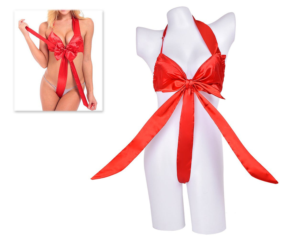 Satin Sexy Lingerie Knot Body Bow - Red