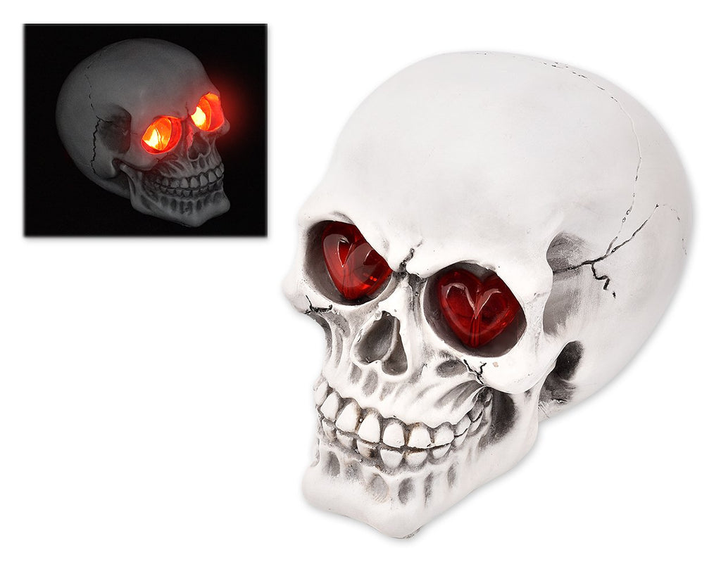 Halloween Decoration Terror Resin Skull Ornament w/ LED Light - Smooth