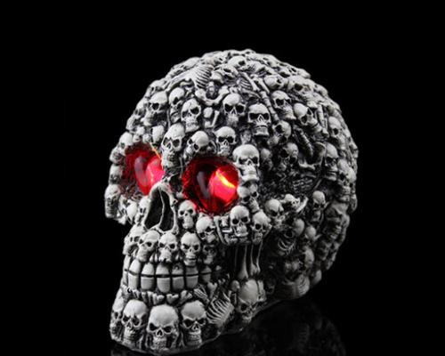 Halloween Decoration Terror Resin Skull Ornament w/ LED Light - Skull