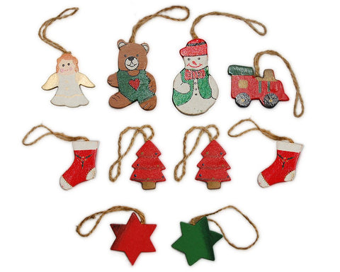 10 Pcs Painted Santa Folk Decoration Christmas Tree Rustic Ornaments