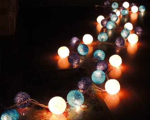 20 Cotton Balls 220V String Light for Decoration - Blue